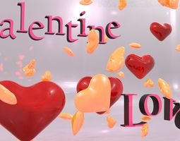 Valentine Hearts  Animated 3D Model