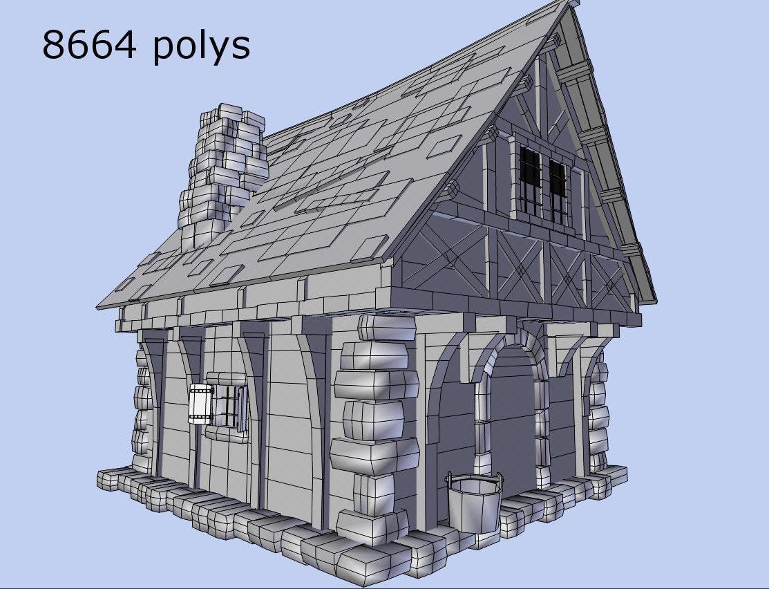 3d model medieval style house vr ar low poly obj 3ds for Medieval house plans