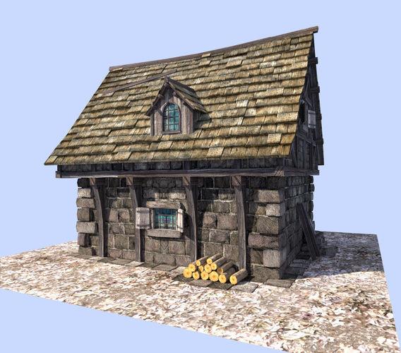 Medieval Style House 3D Model Game Ready .obj .3ds .fbx