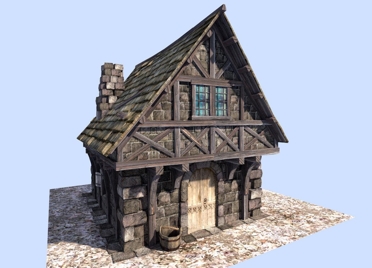 Medieval Style House 3d Model Game Ready Obj 3ds Fbx