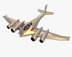 Silver futuristic airplane 3D Model