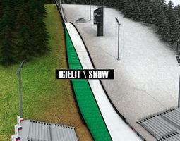 3D model Ski jumping hill low detail