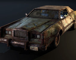 post apocalyptic car 3d model low-poly