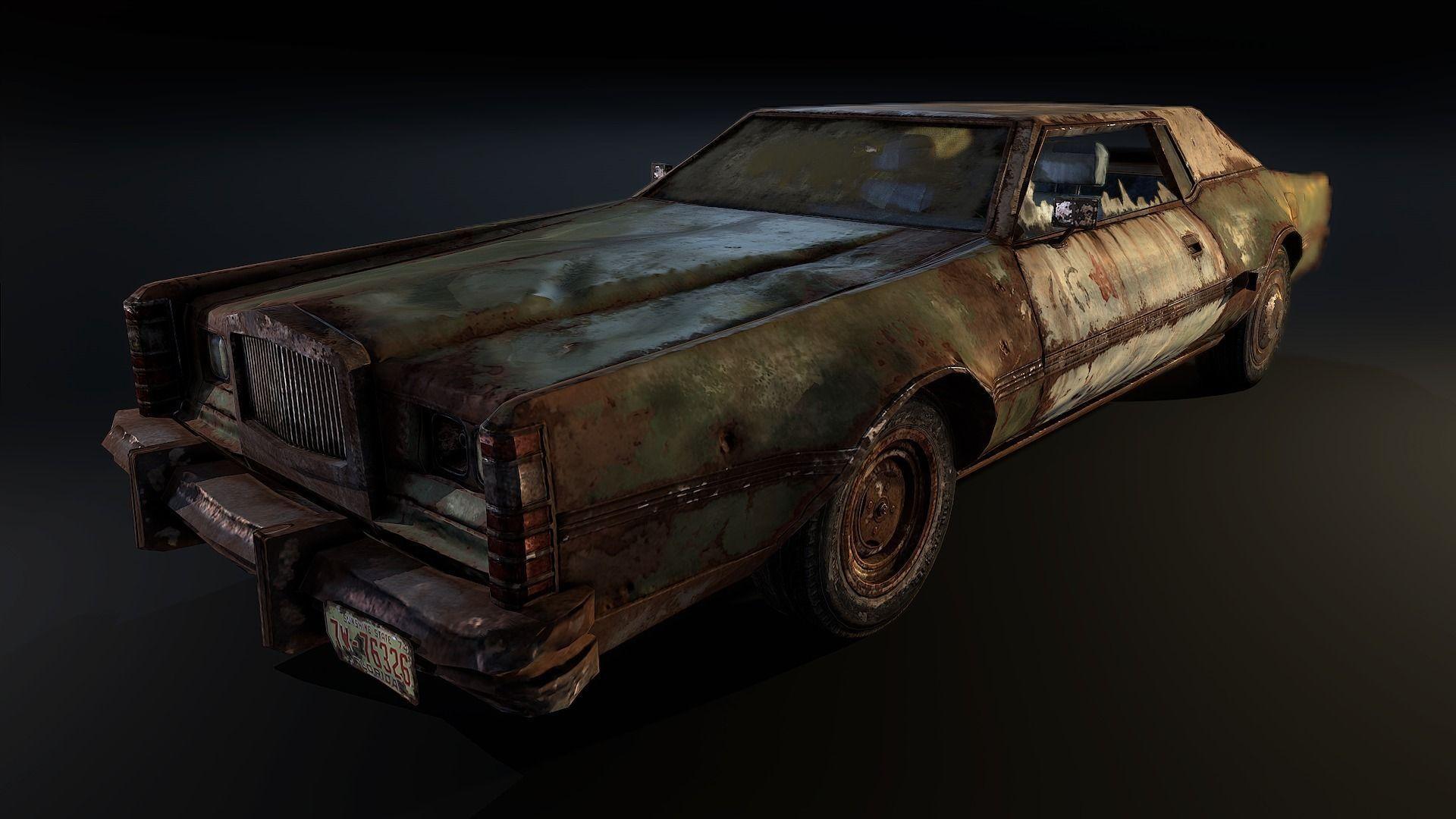 3d Model Post Apocalyptic Car Vr Ar Low Poly Obj Fbx
