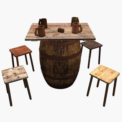 Beer Barrel Table 3d Model Max Tga