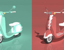 Dual Italian Scooters - Cartoon Shader 3D Model