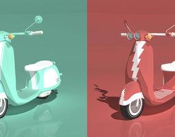 Dual Italian Scooters - Cartoon Shader 3D Model
