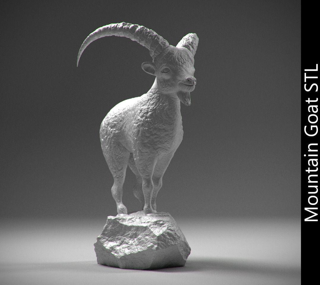 Mountain Goat On The Stone Stl 3D Model 3D Printable .stl