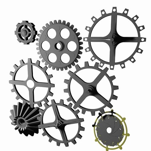 Steampunk Cog Collection Print  Ready
