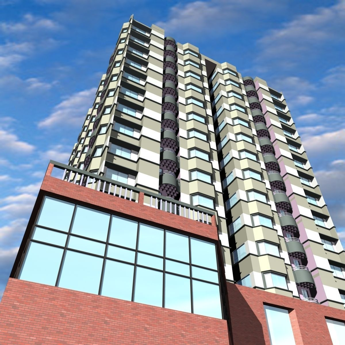 3D Model 16 Story Commercial Building
