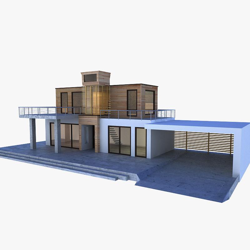 ... Modern House 3d Model Fbx Ma Mb 2 ...