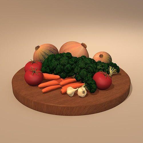plate with vegetable 3d model obj mtl 3ds 3dm dwg 1