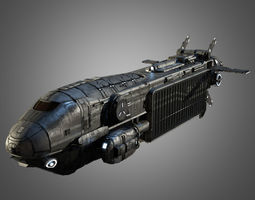 sci-fi transport ship 3d model game-ready