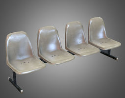 laundromat bench chairs 3d asset game-ready