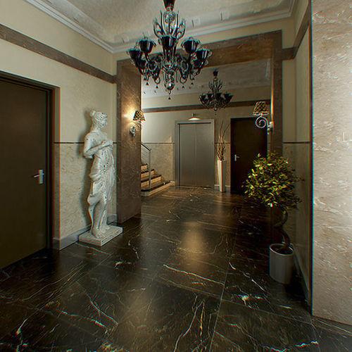 Hall Lobby decorated interior full scene3D model