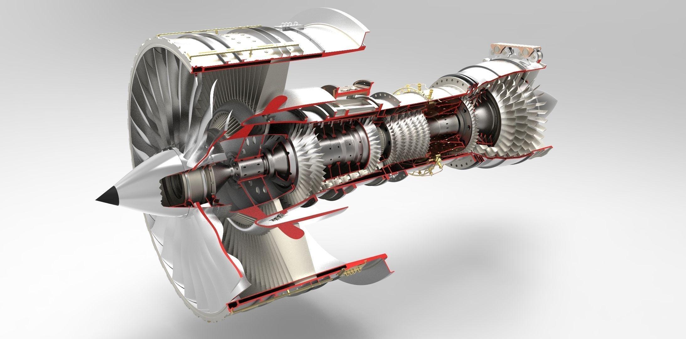 Jet Engine free 3D Model STP | CGTrader.com