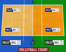 Volleyball court low detail low poly 3D Model