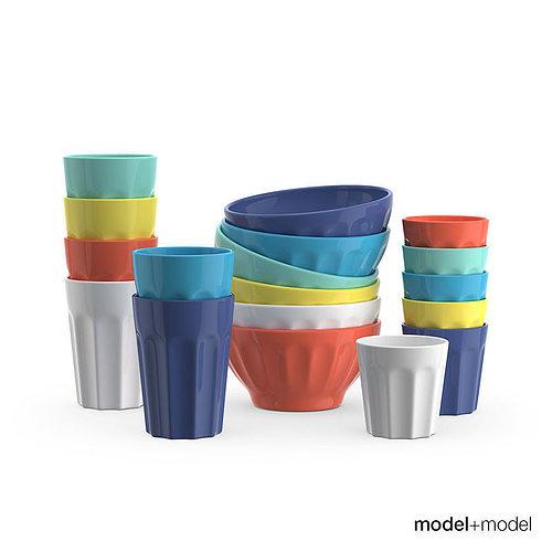 ceramic bowls and cups 3d model max obj mtl fbx mat 1