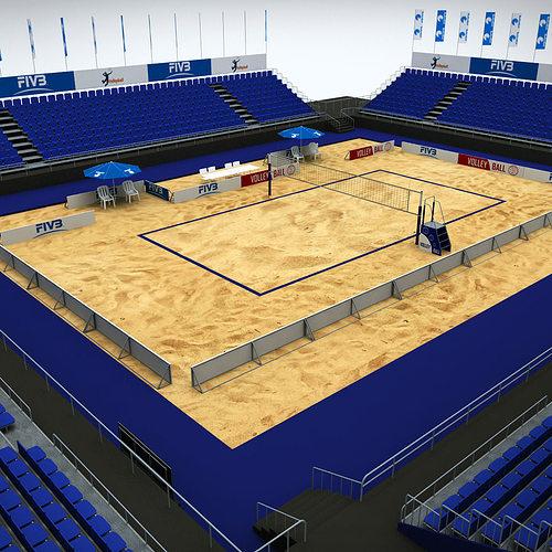 Volleyball beach court stadium high detail 3D
