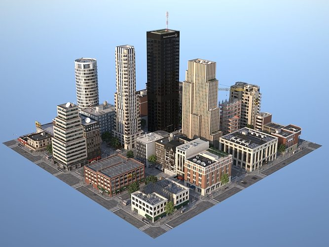 city kc2 3d model max obj mtl 3ds fbx c4d lwo lw lws 1
