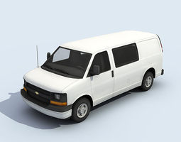 White Full Size Van 3D Model