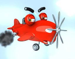 Airplane cartoon rigged 3D Model