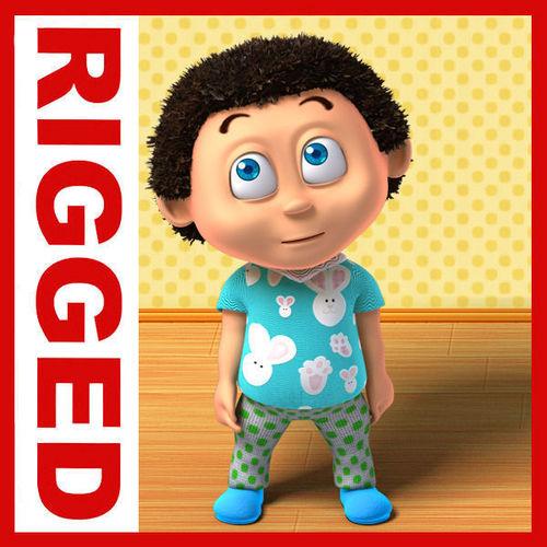 Boy cartoon rigged 023D model