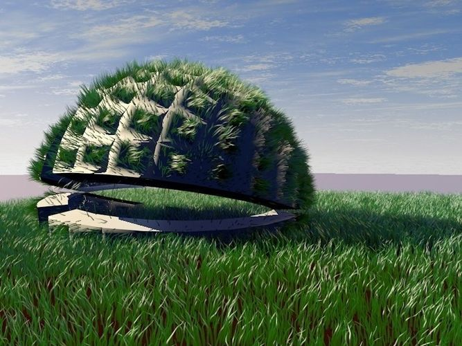 Design pavilion with grass scene3D model