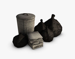 trash collection game-ready 3d model