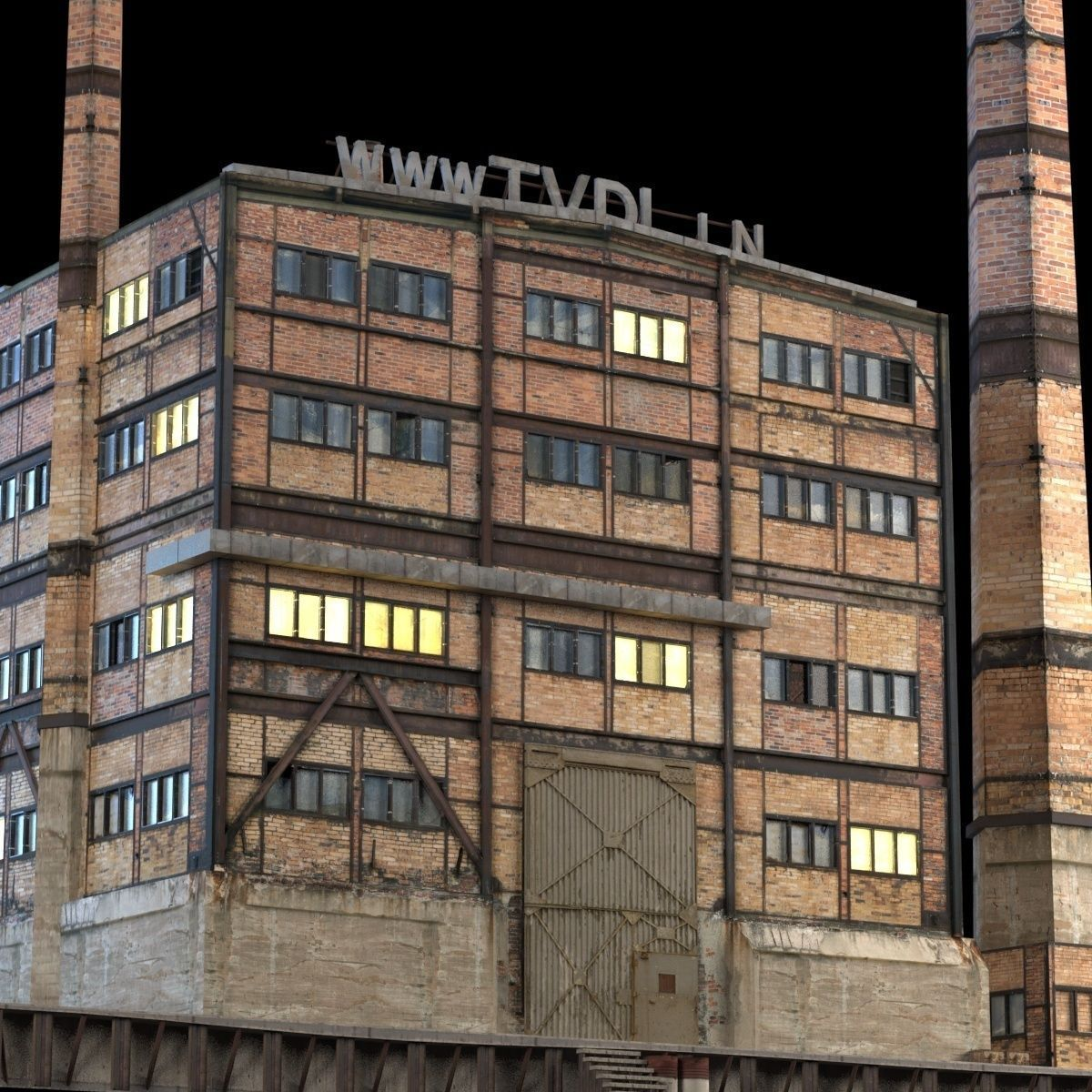 Abandoned Factory Building 149 3D Model .max .obj .3ds