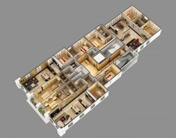 3D Model Cutaway Residential Building houses
