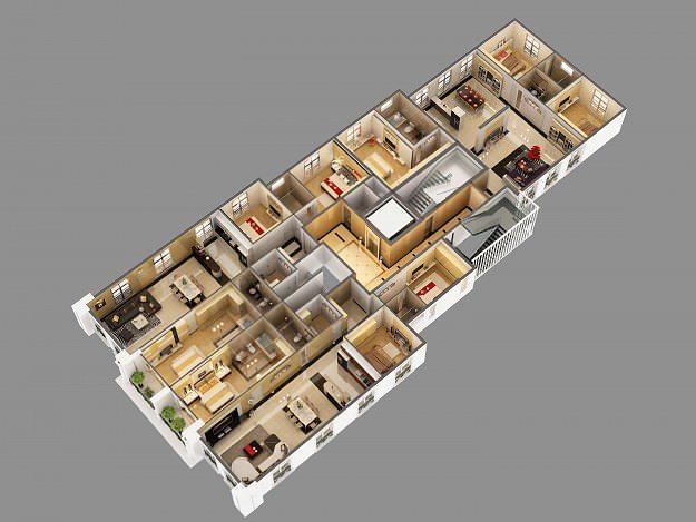 Cutaway Apartment Full Furnitures Modern Design: 3D Model Cutaway Residential Building Houses
