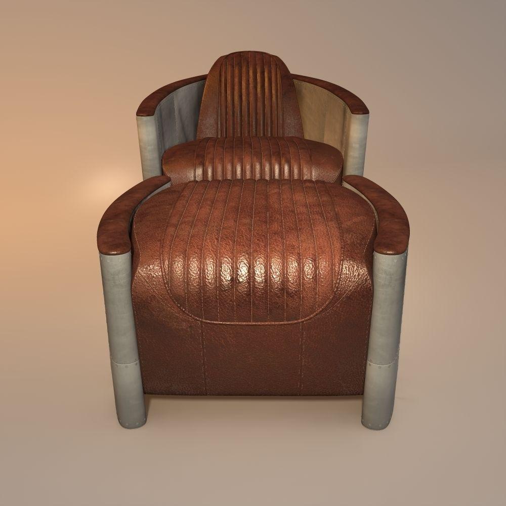 aviator chair and ottoman 3D Model obj 3ds fbx 3dm
