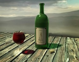 wine set bottle & glas 3D Model