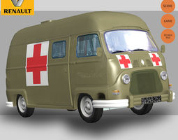 renault estafette military 3d model low-poly rigged max