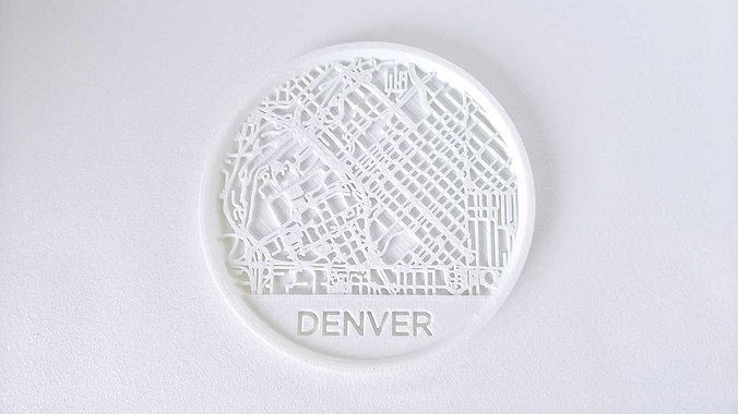 028a - drink coaster - denver map -  3d model stl 1