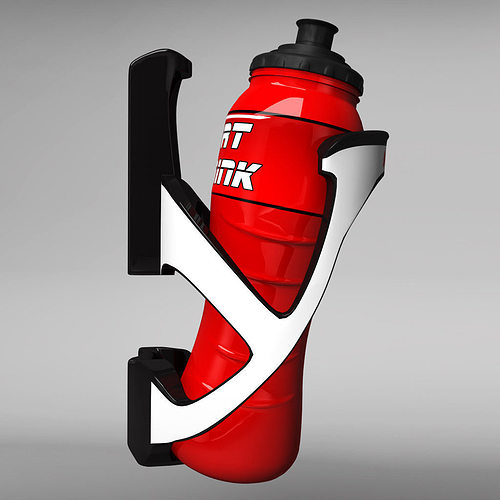mtb bicycle sport bottle with cage 3d model max obj mtl 3ds fbx 1