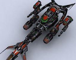 Sci-Fi Space Fighters Fleet 3D Model