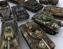 WW2 Tanks collection 3D asset