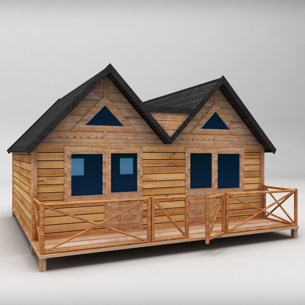 3D Model Wooden House Large Low Poly VR / AR / Low-poly