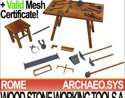Roman Wood Stone Working Tools Collection 3D Print 3D Model