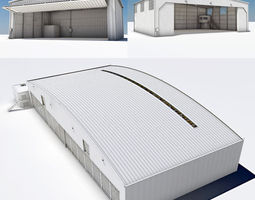 Pack of 3 Hangar Industrial Buildings 3D Model