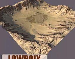 3D model realtime Lowpoly Mountain exterior