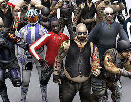Bikers gang pack 3D Model