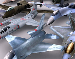 Modern military aircrafts pack 3D Model