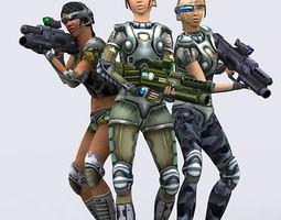 Hitomi Elite troopers females 3D Model