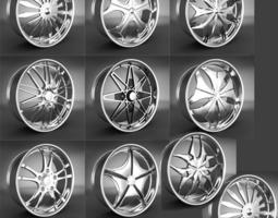 10 Wheel Rims 031-040 3D Model
