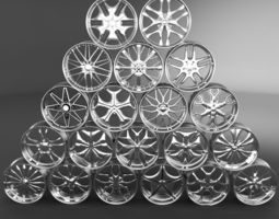 20 Wheel Rims 021-040 3D Model
