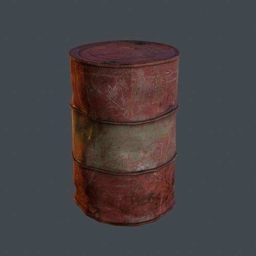 Old oil barrel 3d model game ready obj fbx ma mb tga for Motor oil by the barrel