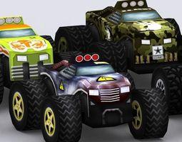 Road rush monster trucks 3D Model